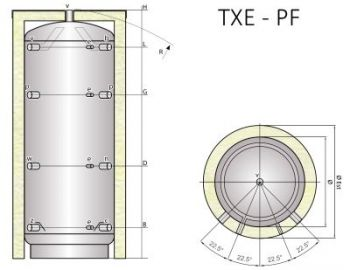 Ocelová akumulační nádrž Tipex TXE 5000 PF F4 s izolací