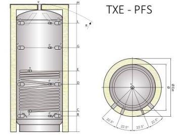 Ocelová akumulační nádrž Tipex TXE 1250 PFS F4 s izolací