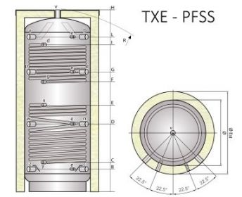 Ocelová akumulační nádrž Tipex TXE 2000 PFSS F4 s izolací