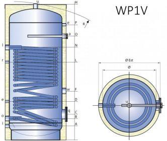 Smaltovaná nádrž TIPEX TXE 800 WP1V F10 s izolací