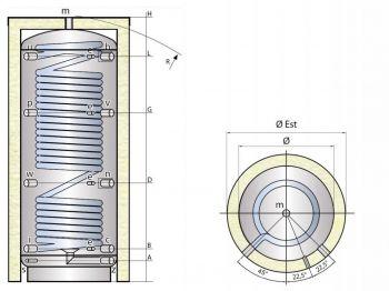 Kombinovaná nádrž TIPEX TXE 2000 MX0W F3 s izolací
