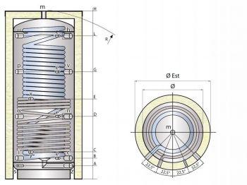 Kombinovaná nádrž TIPEX TXE 1250 MX1W F3 s izolací