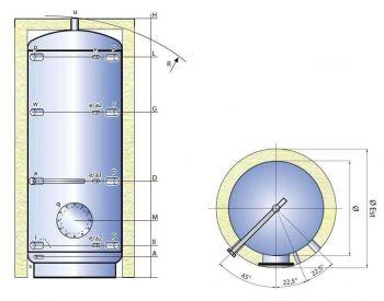 Smaltovaná nádrž TIPEX ATV - řez