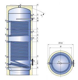 Smaltovaná nádrž TIPEX TXE 500 DSFV R10 s izolací