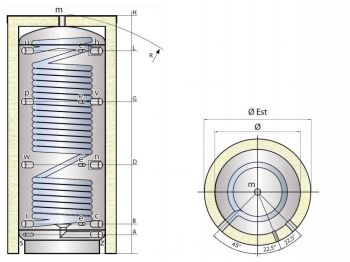 Kombinovaná nádrž TIPEX TXE 600 MX0W R3 s izolací