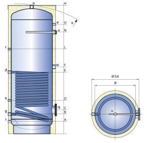 Smaltovaná nádrž TIPEX TXE 300 SFV R10 s izolací