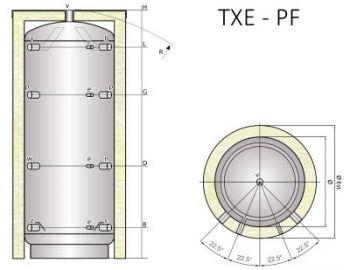 Ocelová akumulační nádrž Tipex TXE 500 PF R4 s izolací